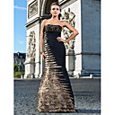 Trumpet/Mermaid Strapless Floor-length Satin And Taffeta Evening Dress With Beading