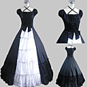 Short Sleeve Floor-length Black Satin Cotton Country Lolita Dress
