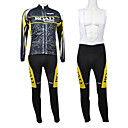 Kooplus Road Yellow Series Men's Fleece Long Sleeve Suits with BIB Tights
