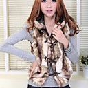 Fashion Faux Fur Hood senza maniche Vest Collare