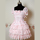 Short Sleeves Knee-length Pink Cotton Princess Lolita Dress