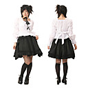 Long Flare Sleeve Knee-length White and Black Cotton Classic Lolita Outfit