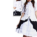 Long Sleeve Knielanger weie und schwarze Baumwolle Classic Lolita Outfit