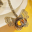 Women's Amber Cut Out Butterfly Necklace