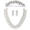 Alloy With Rhinestone / Imitation Pearls Women's Jewelry Set Including Necklace,Earrings,Tiara