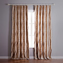 (Two Panels) Curve Pattern Jacquard Blackout Curtains