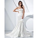 Trumpet/Mermaid Strapless Court Train Satin Evening Dress