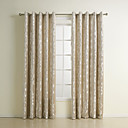 (Two Panels) Modern Polyester Rhombus Jacquard Energy Saving Curtains