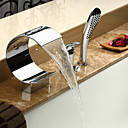Contemporary Waterfall Tub Faucet with Hand Shower - Chrome Finish
