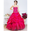 Ball Gown Sweetheart Floor-length Satin Evening Dress With Beading And Pick Up Skirt