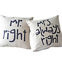 Set of 2 Romance of Couple Cotton/Linen Decorative Pillow Cover