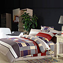 Multi Color Square Full / Queen 4-Piece Duvet Cover Set