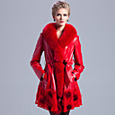 Long Sleeve Fox Fur Shawl Collar Lambskin Leather Casual/Evening Coat (More Colors)