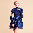 TS VINTAGE High Neck Knitted Top Layered Ruffle Ball Dress With Gloves