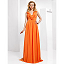 Chiffon Sheath/Column V-neck Sweep/Brush Train Evening Dress inspired by Kyra Sedgwick at Golden Globe Award