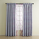 (Two Panels) Classic Jacquard Stripe Room Darkening Curtain Set
