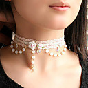 Elegant White Pearl Lace Choker Necklace