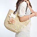 Donna Doppio Colore Contrasto Fiore Woven Tote