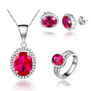 Stylish 925 Silver With Rhinestone/Cubic Zirconia Women's Jewelry Set Including Necklace,Earrings,Ring(More Colors)