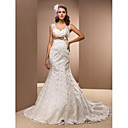 Trumpet/Mermaid Queen Anne Court Train Satin Wedding Dress