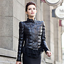 Long Sleeve Standing Collar Lambskin Leather Casual/Office Jacket With Lace