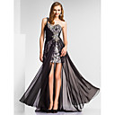 Sheath/Column One Shoulder Floor-length Chiffon|Sequined Evening Dress