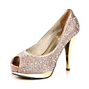 Gorgeous Satin Stiletto Heel Peep Toe Pumps With Rhinestone Wedding Shoes