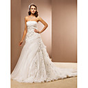 A-line Strapless Cathedral Train Organza Wedding Dress