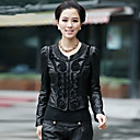 Long Sleeve Collarless Lambskin Leather Casual/Office Jacket (More Colors)
