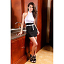 Women's Halter Black-white Color Contrast Dress(Length:68cm Bust:86-102cm Waist:58-79 Hip:90-104cm)
