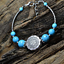 Women's Blue Balls Silver Flower Medal Silver Bracelet