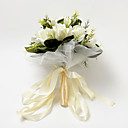 Pretty Round Shape Ivory Satin Rose Wedding Bridal Bouquet