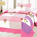 3PCS Plaid Pink Cotton Queen Size Quilt Set