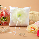 Flower Themed White Satin Ring Pillow
