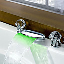 Widespread Contemporary 3 Color Changing LED Waterfall Bathroom Sink Faucet (Chrome Finish)