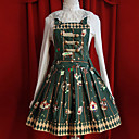 Funny Amusement Park Sleeveless Dark Green Short Cotton Sweet Lolita Dress