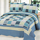 3PCS Blue Plaid Cotton Queen Size Quilt Set