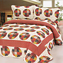 3PCS Traditional Pattern Cotton Queen Size Quilt Set