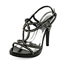 Fabulous Leatherette Stiletto Heel Sandals With Rhinestone Party / Evening Shoes