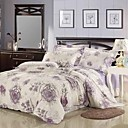4PCS Purple Rose Print Polyester Full Duvet Cover Set