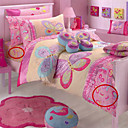 2PCS Pink Butterfly Quilted Cotton Twin Duvet Cover Set