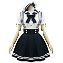 Short Sleeve Short White and Black Cotton Sailor Lolita Kleid