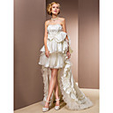 Two-In-One A-line Princess Sweetheart Asymmetrical Organza And Taffeta Wedding Dress With Removable Train
