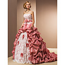 Ball Gown Strapless Court Train Lace And Taffeta Wedding Dress