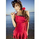Women's Red Halter Padded Underwire Swim Dress