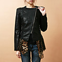 Long Sleeve Collarless PU Party/Office Jacket