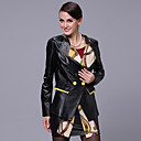 Long Sleeve Turndown Collar Lambskin Leather Casual/Office Jacket