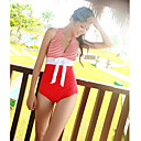Women's Sexy Two-piece V Neck Halter Swimwear with Bra Pads