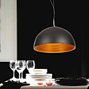 60W Nature inspired Modern Pendant with Black Hemispherical Metal Shade
