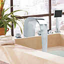 Contemporary Style Chrome Finish Widespread Stainless Steel Bathtub Faucets with Handheld Faucet